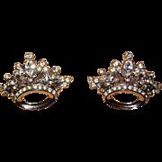 Pair Coro Rhinestone Crown Brooches