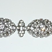 REDUCED Early Crown Trifari White Rhinestone Bracelet