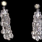 Vintage Clip On Earrings Crystal Chandelier