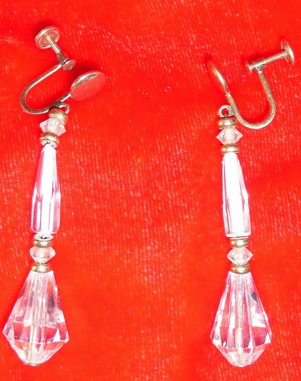 Vintage Art Deco Crystal Drop Earrings