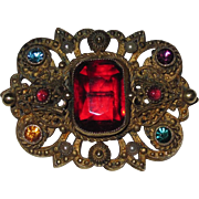 Vintage Czech Brooch Red