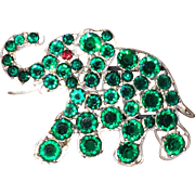 Large Vintage Czech Green Crystal Elephant Brooch