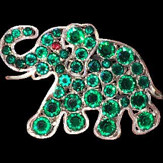 Large Vintage Czech Green Crystal Elephant Brooch