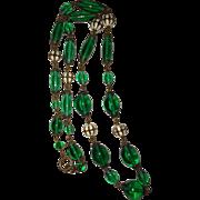 REDUCED Art Deco Czech Green Glass Beads