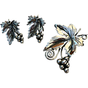 Damaso Gallegos Taxco Sterling Leaf Brooch plus Earrings