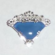 Deco Marcasite Basket Blue Stone Clip