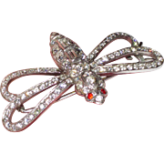 1930s Paste Rhinestone Hair Barrette or Clip Butterfly