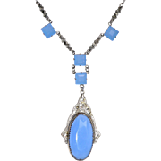 REDUCED Art Deco Blue Glass Necklace with Marcasites