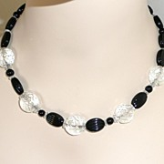 REDUCED Art Deco Pressed Glass Beads Black and White
