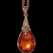 REDUCED Art Deco Glass Amber Crystal Pendant Filigree