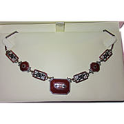REDUCED Art Deco Enamel and Glass Necklace