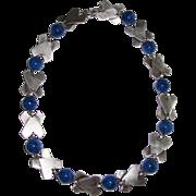 REDUCED Art Deco Geometric Lapis Glass Necklace