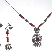 REDUCED Art Deco Carnelian Glass Filigree Set Necklace and Earrings
