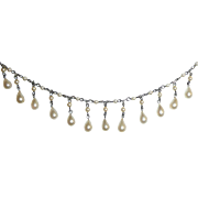 REDUCED Beautiful Delicate Faux Pearls Fringe Necklace