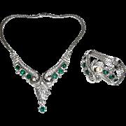 REDUCED Rare R. DeRosa Sterling Necklace and Bracelet Set Demi Parure