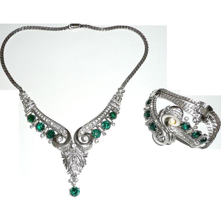 Rare R. DeRosa Sterling Necklace and Bracelet Set Demi Parure