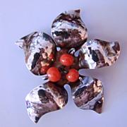REDUCED Artist Sterling Silver Flower Brooch