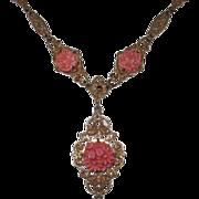 REDUCED Vintage Gilt Brass Filigree Faux Coral Necklace