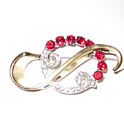 REDUCED Retro Large Red Brooch Vermeil