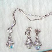 REDUCED Beautiful Vintage Rhinestone Pendant and Earrings