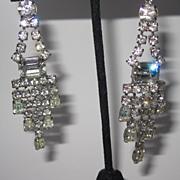 Vintage Rhinestone Earrings Long Drops