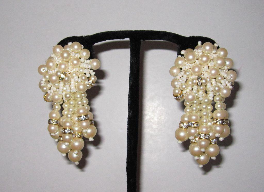Vintage Large Faux Pearls Fringe Earrings Clip