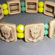 Vintage Glass Egyptian Motif Bracelet