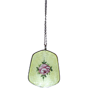 REDUCED Beautiful Enamel Pendant and Earrings Yellow with Rose