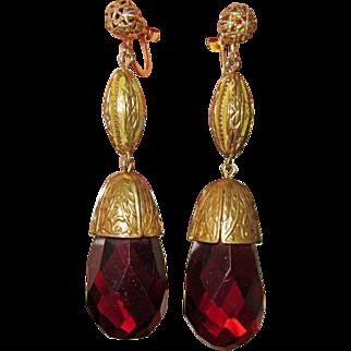 REDUCED Fabulous Fabulous 1930s Brass & Glass Drop Earrings