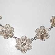 REDUCED Fancy Silver Roses Filigree Necklace