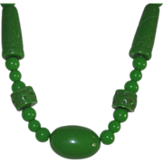 REDUCED Vintage Carved Lucite Faux Jade Necklace Beads
