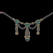 REDUCED Vintage Sterling Filigree Festoon Necklace