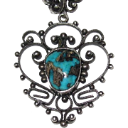 REDUCED Filigree Silver Turquoise Pendant