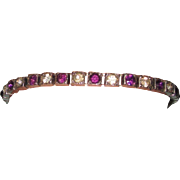 REDUCED Purple Rhinestone Fishel, Nessler & Co. Sterling Art Deco Line Bracelet
