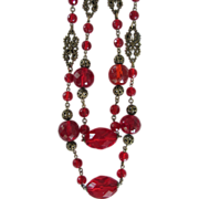 REDUCED 60 Inches Red Flapper Glass Beads Necklace