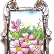 REDUCED Vintage Enamel Link Bracelet Floral