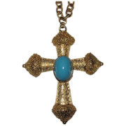 REDUCED Florenza Signed Large Cross Pendant