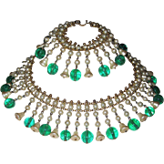 REDUCED Vintage Gorgeous Glass Pearls Emerald Beads Fringe Necklace Bracelet
