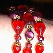 Made in Germany Gorgeous Red Glass Bead Bracelet