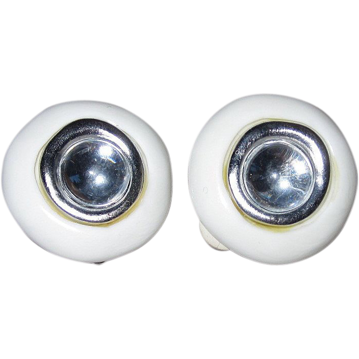 Vintage Givenchy White Plastic Clip Earrings