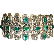 REDUCED Gorgeous Vintage Green Rhinestone Cuff Bracelet Brass