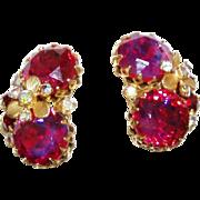 Gorgeous Designer Deep Pink Rhinestone Earrings