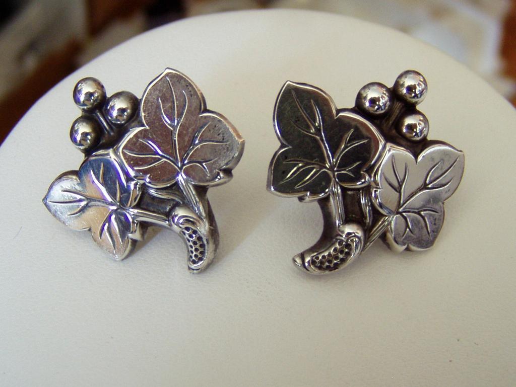 Vintage Sterling Grape Motif Earrings