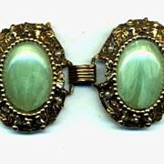 Large Vintage Green Plastic and Metal Bracelet