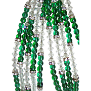 REDUCED Best Vintage Hobe Green Glass Beads and Earrings