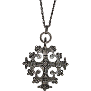 REDUCED Italy Sterling Gothic Cross with Ornate Gargoyle Long Chain