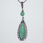 REDUCED Vintage Sterling Green Aventurine  Pendant