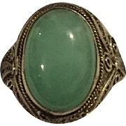 Vintage Chinese Silver Export Filigree Jade Ring