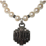 REDUCED Judith Jack Vintage Sterling Marcasite Pendant Faux Pearls