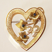 Sweet Krementz Gold Fill Heart with Pearls